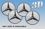 MERCEDES BENZ 3d car wheel center cap emblems stickers decals  :: Black logo/Silver background ::