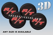DODGE R/T 3d car wheel center cap emblems stickers decals  :: Red logo/Black background ::