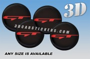 KIA STINGER GT 3d car wheel center cap emblems stickers decals  :: Red logo/black background ::