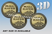 JEEP MALL RATED 3d car wheel center cap emblems stickers decals  :: Gold logo/black background ::