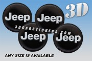 JEEP 3d car wheel center cap emblems stickers decals  :: Silver logo/black background ::