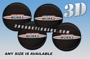 JOHN COOPER WORKS 3d car wheel center cap emblems stickers decals  :: Red/Silver logo/black background ::