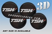 TSW 3d car wheel center cap emblems stickers decals  :: Red/Silver logo/black background ::