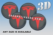 TESLA 3d car wheel center cap emblems stickers decals  :: Red logo/graphite background ::