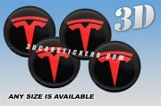 TESLA 3d car wheel center cap emblems stickers decals  :: Red logo/Black background ::