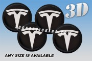 TESLA 3d car wheel center cap emblems stickers decals  :: White logo/Black background ::
