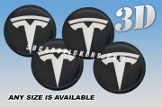 TESLA 3d car wheel center cap emblems stickers decals  :: White logo/graphite background ::