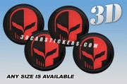 CORVETTE JAKE SCULL 3d car wheel center cap emblems stickers decals  :: Red logo/black background ::