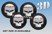 CORVETTE RACING JAKE 3d car wheel center cap emblems stickers decals  :: Silver scull/Black/Red writing/black background ::