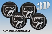 DODGE VIPER SNAKE 3d car wheel center cap emblems stickers decals  :: Silver logo/black background ::