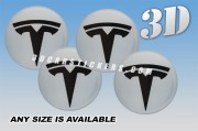 TESLA 3d car wheel center cap emblems stickers decals  :: Black logo/Silver background ::