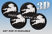 CARLSSON 3d car wheel center cap emblems stickers decals  :: White logo/black background ::