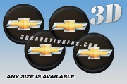CHEVROLET NEW LOGO 3d car wheel center cap emblems stickers decals  :: Gold logo/black background ::