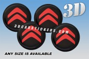 CITROEN 3d car wheel center cap emblems stickers decals  :: Red logo/black background ::