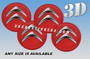 CITROEN 3d car wheel center cap emblems stickers decals  :: Silver logo/red background ::
