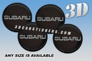 SUBARU 3d car wheel center cap emblems stickers decals  :: Silver writing/black background ::
