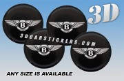BENTLEY 3d domed car wheel center cap emblems stickers decals  :: Black-White logo/black background ::