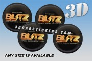BLITZ 3d domed car wheel center cap emblems stickers decals  :: Gold logo/black background ::