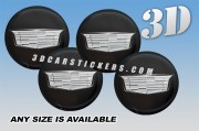 CADILLAC NEW LOGO 3d domed car wheel center cap emblems stickers decals  :: Silver logo/black background ::