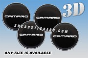 CAMARO 3d domed car wheel center cap emblems stickers decals  :: White logo/black background ::