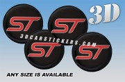 FORD ST 3d domed car wheel center cap emblems stickers decals  :: Red logo/Silver outline/black background ::