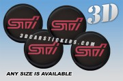 STI 3d domed car wheel center cap emblems stickers decals  :: Pink logo/black background ::