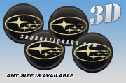 SUBARU 3d domed car wheel center cap emblems stickers decals  :: Gold logo/black background ::