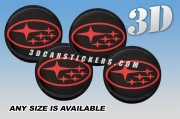 SUBARU 3d domed car wheel center cap emblems stickers decals  :: Red logo/black background ::