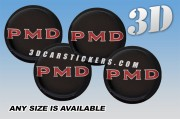 PMD 3d domed car wheel center cap emblems stickers decals  :: Red logo/black background ::