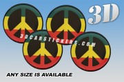 PEACE 3d domed car wheel center cap emblems stickers decals  :: Color logo/black background ::