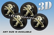 PEUGEOT 3d domed car wheel center cap emblems stickers decals  :: Gold logo/black background ::
