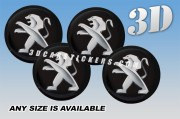 PEUGEOT 3d domed car wheel center cap emblems stickers decals  :: Silver logo/black background ::