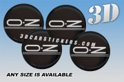 OZ RACING (letters only) 3d domed car wheel center cap emblems stickers decals  :: Silver logo/black background ::