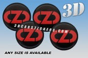 OZ RACING NEW LOGO 3d domed car wheel center cap emblems stickers decals  :: Red logo/black background ::