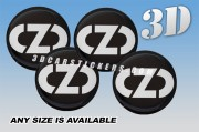 OZ RACING NEW LOGO 3d domed car wheel center cap emblems stickers decals  :: Silver logo/black background ::