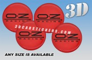 OZ RACING 3d domed car wheel center cap emblems stickers decals  :: Black logo/red background ::