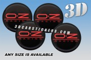 OZ RACING 3d domed car wheel center cap emblems stickers decals  :: Red logo/black background ::
