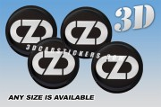 OZ RACING NEW LOGO 3d domed car wheel center cap emblems stickers decals  :: White logo/black background ::