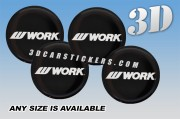 WORK WHEELS 3d domed car wheel center cap emblems stickers decals  :: White logo writing/black background ::