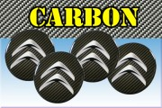 CITROEN 3d car stickers for wheel center caps СARBON LOOK