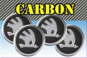 SKODA 3d car stickers for wheel center caps СARBON LOOK