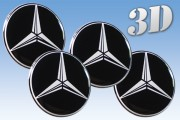 MERCEDES BENZ 3d car decals for wheel center caps